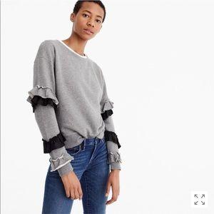 J. Crew Ruffle Sleeve Sweatshirt